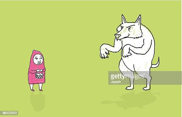 Caperucita roja y la mala lobo gigante