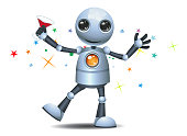 illustration of a little robot dancing on party on isolated white background