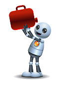 illustration of a little robot drinking oil from  jerry can on isolated white background