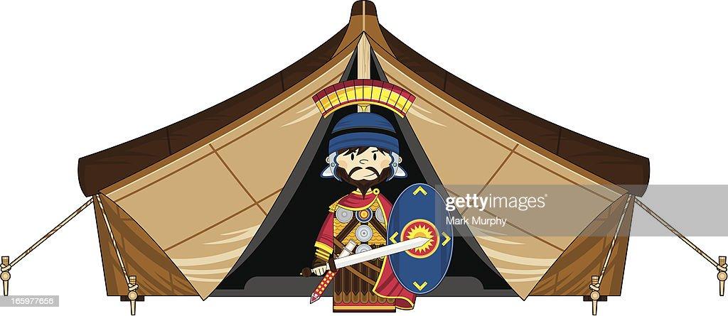 Little Roman Soldier and Tent : Vector Art