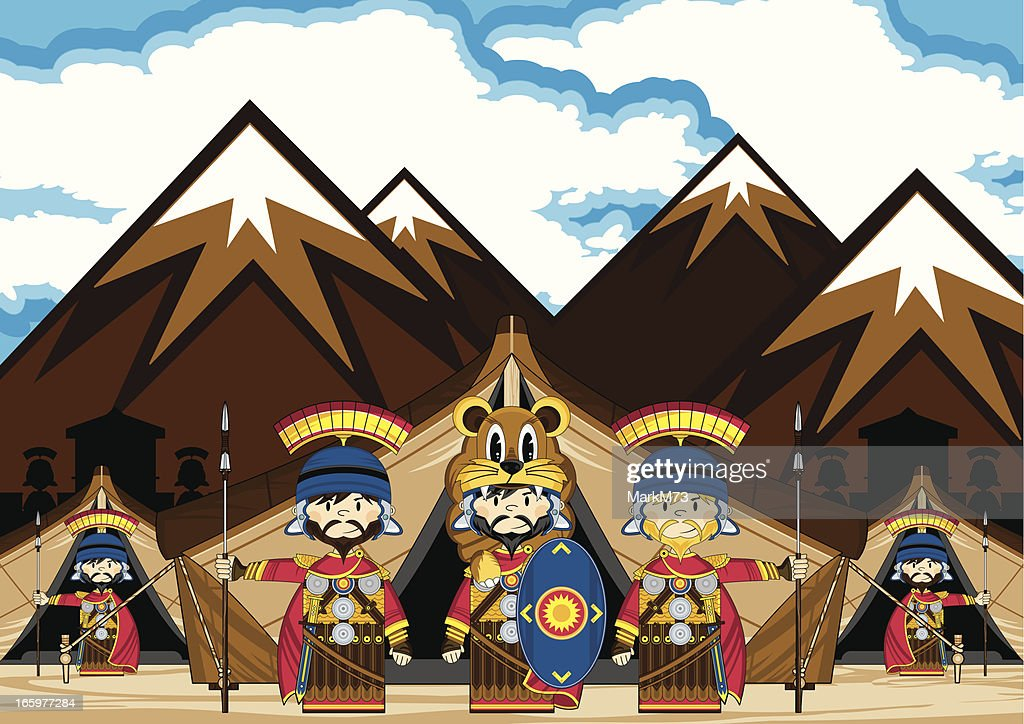 Little Roman Soldiers and Tents Scene : Vector Art