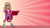 Illustration of a super heroine girl smiling happy while wearing a red cape against ray light background for copy space.