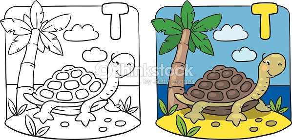 Little Turtle Coloring Book Alphabet T Vector Art | Thinkstock