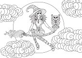 Beautiful little witch sitting on a magic bloom with night owl among clouds and moon, line art stylized for coloring book page for anti stress. Vector illustration