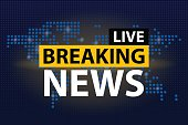 Live Breaking News headline in blue dotted world map background. Vector illustration.