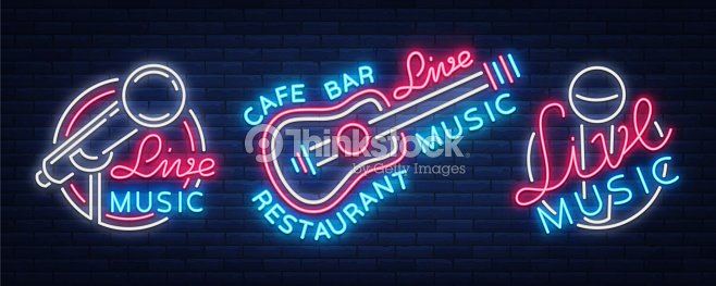 Live music set of neon signs vector icons poster emblem for live live music set of neon signs vector icons poster emblem for live music festivals stopboris Choice Image