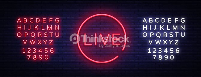 live neon sign vector live stream design template neon sign light