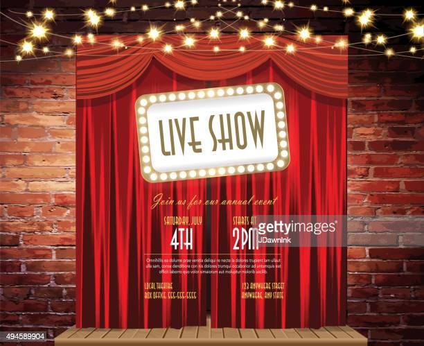 Live show Stage Rustic brick wall,  string lights, closed curtains