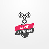Broadcasting antenna icon with live stream text badge vector illustration