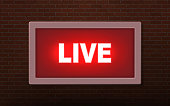 Live studio broadcast  light sign on wall