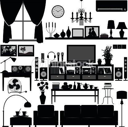 Living Room Furniture Home Interior Design In Silhouette Vector ...