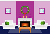Living room interior with fir wreath, fireplace. Christmas design. Vector in flat style including furniture. Xmas background.