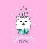 Llama cupcake cute illustration with unicorn llama and stars.
