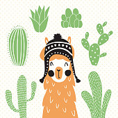 vector illustration of a llama in a traditional bolivian hat and cactus around