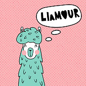 vector illustration in retro style, funny llama illustration and hand lettering pun text - llamour is a combination of llama and french amour (love) words