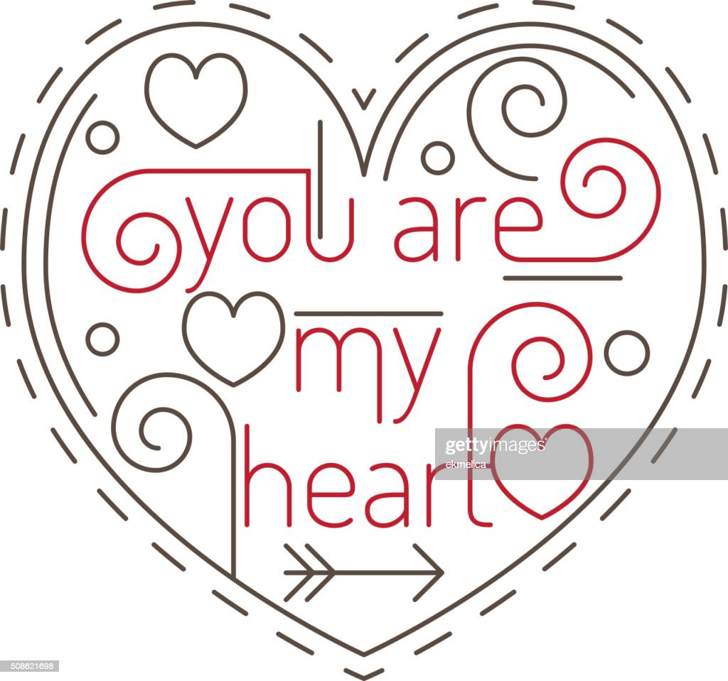 Lline art concept with valentine day symbol. : Vector Art