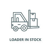 Loader in stock vector line icon, outline concept, linear sign
