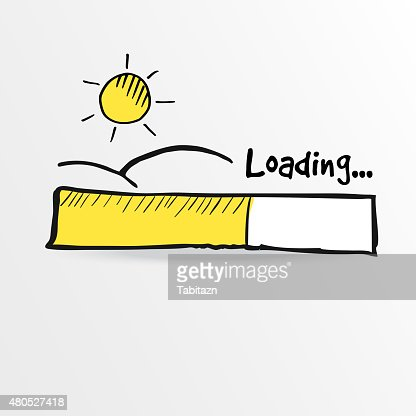 Loading bar with shining sun , summer holiday concept, vector : Vector Art