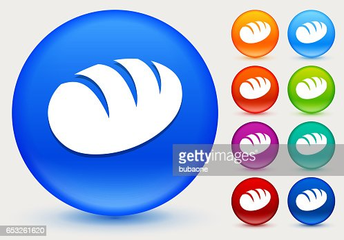 Loaf of Bread Icon on Shiny Color Circle Buttons : Vectorkunst