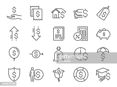 Loan and interest icon set. Included the icons as fees, personal income, house mortgage loan, car leasing, flat rate interest, installment, expense, financial ratio and more : stock vector