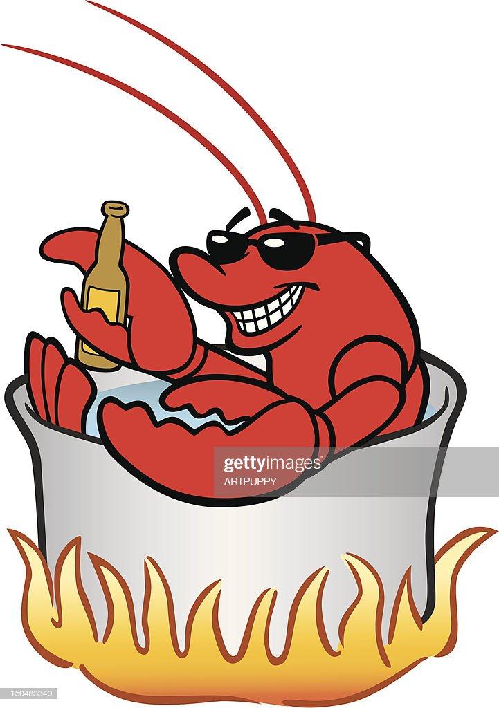 Lobster in Pot : Vector Art