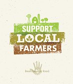 Local Food Market. From Farm To Table Creative Organic Vector Concept on Recycled Paper Background.