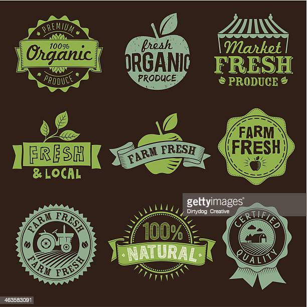 Local, Fresh, Organic, Natural, Farm food labels, icons and logo