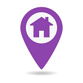 Location icon flat with house on white background. Vector illustration