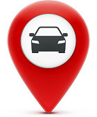 Vector illustration of glossy red map location pointer icon with car icon