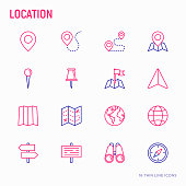 Location thin line icons set: pin, pointer, direction, route, compass, wall needle, cursor, navigation, GPS, binoculars. Modern vector illustration.