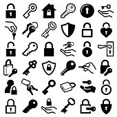 Lock and key icon collection - vector silhouette and illustration