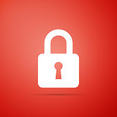 Lock icon isolated on red background. Flat design. Vector Illustration