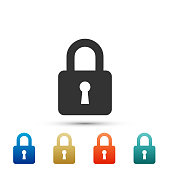 Lock icon isolated on white background. Set elements in colored icons. Flat design. Vector Illustration