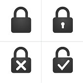 Lock Icons with keyhole cross and checkmark, Vector illustration isolated on white