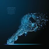 Lock key isolated from low poly wire frame on dark background. Data storage and protection vector polygonal image in the form of a starry sky or space, consisting of points, lines, and shapes.