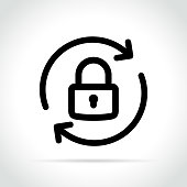 Illustration of lock reload icon on white background