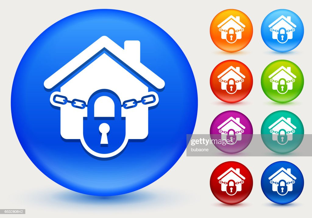 Locked House Icon on Shiny Color Circle Buttons : Vectorkunst