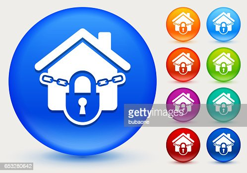 Locked House Icon on Shiny Color Circle Buttons : Clipart vectoriel