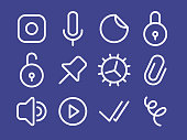 Set of line styled vector icons for messenger application. Pack of different icons: speakerphone, play button, recieved messages, lock and others.
