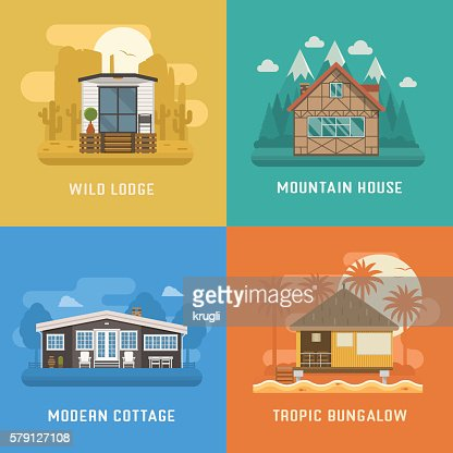 Lodge, Chalet, Cottage and Bungalow House Set : stock vector