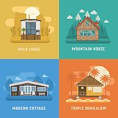 Different dwelling set. Modern apartment at rural area, tropic bungalow at beach, mountain chalet house at national park and wild lodge at desert. Vector home poster collection. House booking and rent