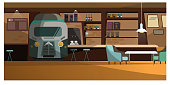 Loft cafe with unique design vector illustration. Train front view in wall with bar shelves. Comfortable chairs at coffee table. Pub interior illustration