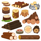 Log vector tree lumbers or logging trunks and hardwood of wooden timbered materials in sawmill illustration lumbering set of firewoods isolated on white background.