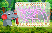 illustration of Logic puzzle game for study English with elephant
