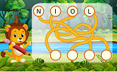 illustration of Logic puzzle game for study English with lion