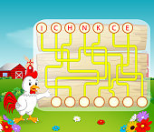 illustration of Logic puzzle game for study English with rooster