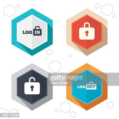 Iconos de inicio de sesión y cerrar sesión.   Firmar en icono.   Vestuarios con casilleros : Arte vectorial