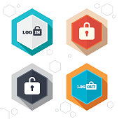 Hexagon buttons. Login and Logout icons. Sign in or Sign out symbols. Lock icon. Labels with shadow. Vector