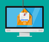 Login into account in email envelope and fishing hook. Internet phishing, hacked login and password. Netwrok and internet security. Anti virus, spyware, malware. Vector illustration in flat style