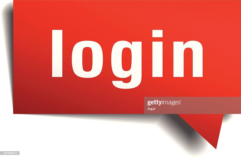 login red 3d realistic paper speech bubble vector art thinkstock rh thinkstockphotos com au Log Vector red vector login
